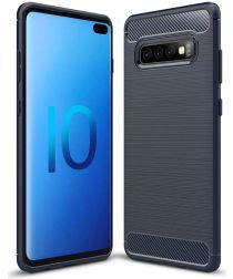 Samsung Galaxy S10 Plus Geborsteld TPU Hoesje Blauw
