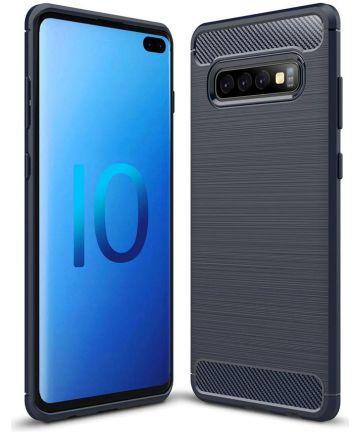 Samsung Galaxy S10 Plus Geborsteld TPU Hoesje Blauw Hoesjes