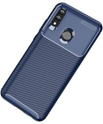 Huawei P Smart (2019) Siliconen Carbon Hoesje Blauw