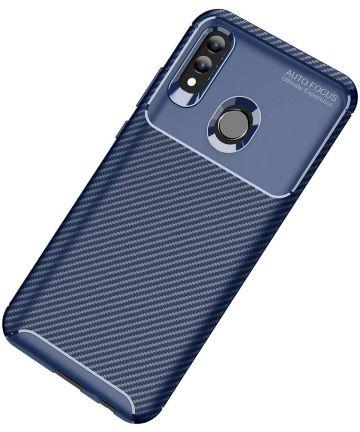Huawei P Smart (2019) Siliconen Carbon Hoesje Blauw Hoesjes
