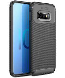 Samsung Galaxy S10E Siliconen Carbon Hoesje Zwart
