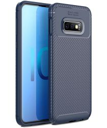 Samsung Galaxy S10E Siliconen Carbon Hoesje Blauw