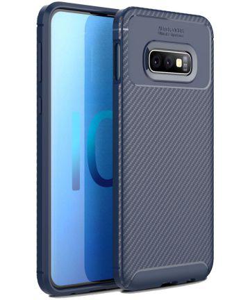 Samsung Galaxy S10E Siliconen Carbon Hoesje Blauw Hoesjes