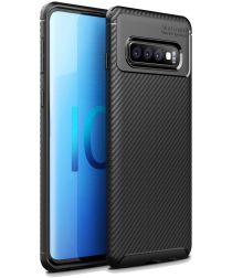 Samsung Galaxy S10 Plus Siliconen Carbon Hoesje Zwart