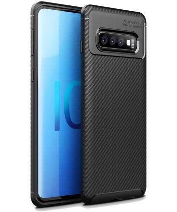 Samsung Galaxy S10 Plus Siliconen Carbon Hoesje Zwart Hoesjes