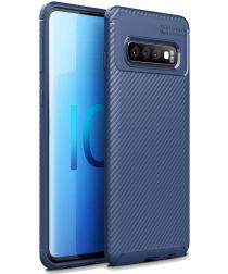 Samsung Galaxy S10 Plus Siliconen Carbon Hoesje Blauw
