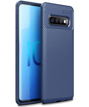 Samsung Galaxy S10 Plus Siliconen Carbon Hoesje Blauw Hoesjes