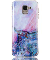 Samsung Galaxy J6 (2018) TPU Hoesje met Marmer Opdruk Blauw