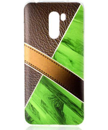 Xiaomi PocoPhone F1 TPU Backcover met Marmer en Leer Print Groen