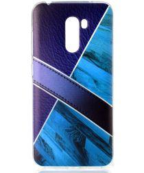 Xiaomi PocoPhone F1 TPU Backcover met Marmer en Leer Print Blauw