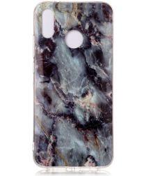 Huawei P20 Lite TPU Back Cover met Marmer Print Zwart