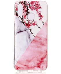 Huawei P20 Lite TPU Back Cover met Marmer Print Roze