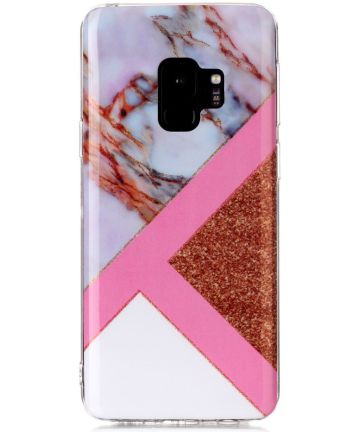Samsung Galaxy S9 TPU Back Cover met Marmer Print Roze Goud