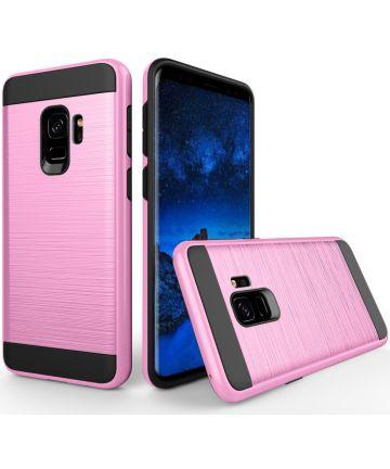 Samsung Galaxy S9 Geborsteld Hybride Hoesje Roze Hoesjes