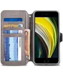 Apple iPhone SE (2020) Hoesje Retro Wallet Book Case Kunst Leer Grijs
