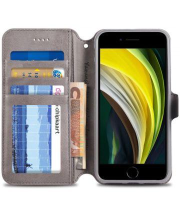 Apple iPhone SE (2020) Hoesje Retro Wallet Book Case Kunst Leer Grijs Hoesjes
