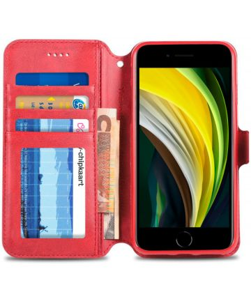 Apple iPhone SE (2020) Hoesje Retro Wallet Book Case Kunst Leer Rood Hoesjes