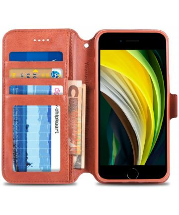 Apple iPhone SE (2020) Hoesje Retro Wallet Book Case Kunst Leer Bruin Hoesjes
