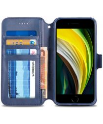Apple iPhone SE (2020) Hoesje Retro Wallet Book Case Kunst Leer Blauw