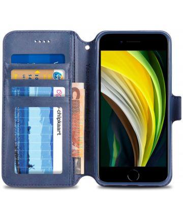 Apple iPhone SE (2020) Hoesje Retro Wallet Book Case Kunst Leer Blauw Hoesjes