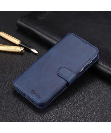 Samsung Galaxy A6 Plus Luxe Portemonnee Hoesje Blauw