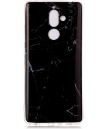 Nokia 7 Plus TPU Hoesje met Marmer Opdruk Zwart