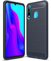 Huawei P30 Lite Geborsteld TPU Hoesje Blauw