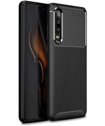 Huawei P30 Siliconen Carbon Hoesje Zwart