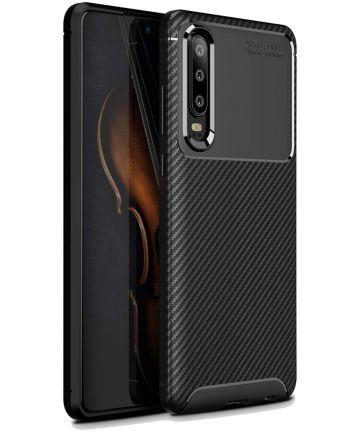 Huawei P30 Siliconen Carbon Hoesje Zwart Hoesjes