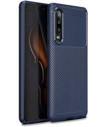 Huawei P30 Siliconen Carbon Hoesje Blauw