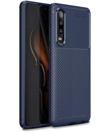 Huawei P30 Siliconen Carbon Hoesje Blauw Hoesjes