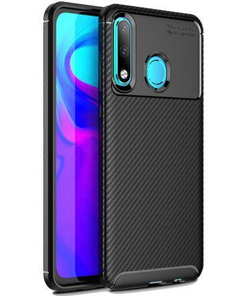 Huawei P30 Lite Siliconen Carbon Hoesje Zwart Hoesjes