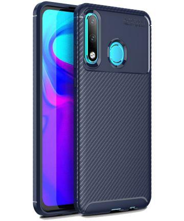 Huawei P30 Lite Siliconen Carbon Hoesje Blauw