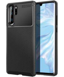 Huawei P30 Pro Siliconen Carbon Hoesje Zwart