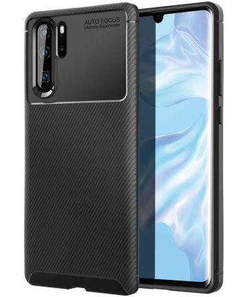 Huawei P30 Pro Siliconen Carbon Hoesje Zwart Hoesjes