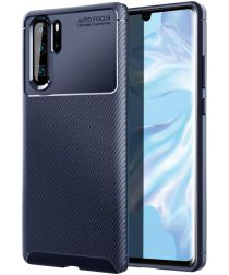 Huawei P30 Pro Siliconen Carbon Hoesje Blauw