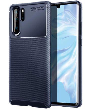 Huawei P30 Pro Siliconen Carbon Hoesje Blauw Hoesjes