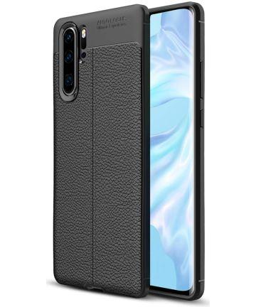 Huawei P30 Pro Hoesje met Kunstleer Coating Zwart