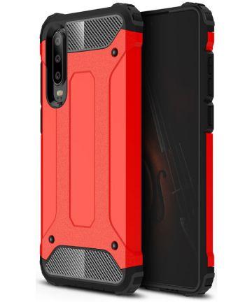 Huawei P30 Hybride Hoesje Rood Hoesjes