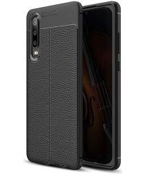 Huawei P30 Hoesje TPU Met Leren Textuur Zwart