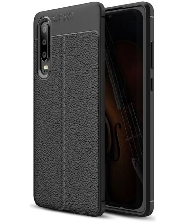 Huawei P30 Hoesje TPU Met Leren Textuur Zwart Hoesjes