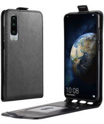 Huawei P30 Verticale Flip Hoesje Zwart