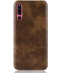 Huawei P30 Hoesje met Lychee Kunstleer Coating Bruin