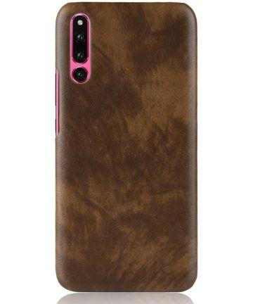 Huawei P30 Hoesje met Lychee Kunstleer Coating Bruin Hoesjes