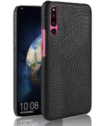 Huawei P30 Hoesje met Krokodil Kunstleer Coating Zwart