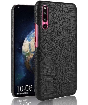 Huawei P30 Hoesje met Krokodil Kunstleer Coating Zwart Hoesjes