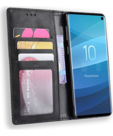 Samsung Galaxy S10 Vintage Portemonnee Hoesje Zwart Hoesjes