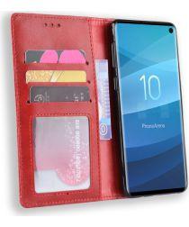 Samsung Galaxy S10 Vintage Portemonnee Hoesje Rood