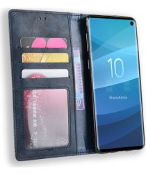 Samsung Galaxy S10 Vintage Portemonnee Hoesje Blauw