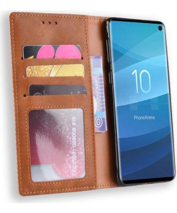 Samsung Galaxy S10 Vintage Portemonnee Hoesje Bruin Hoesjes